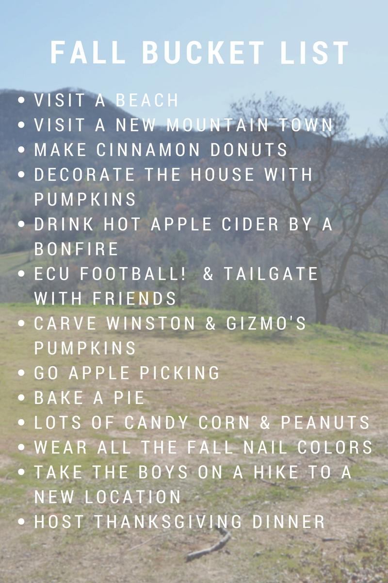 2016 Fall Bucket List