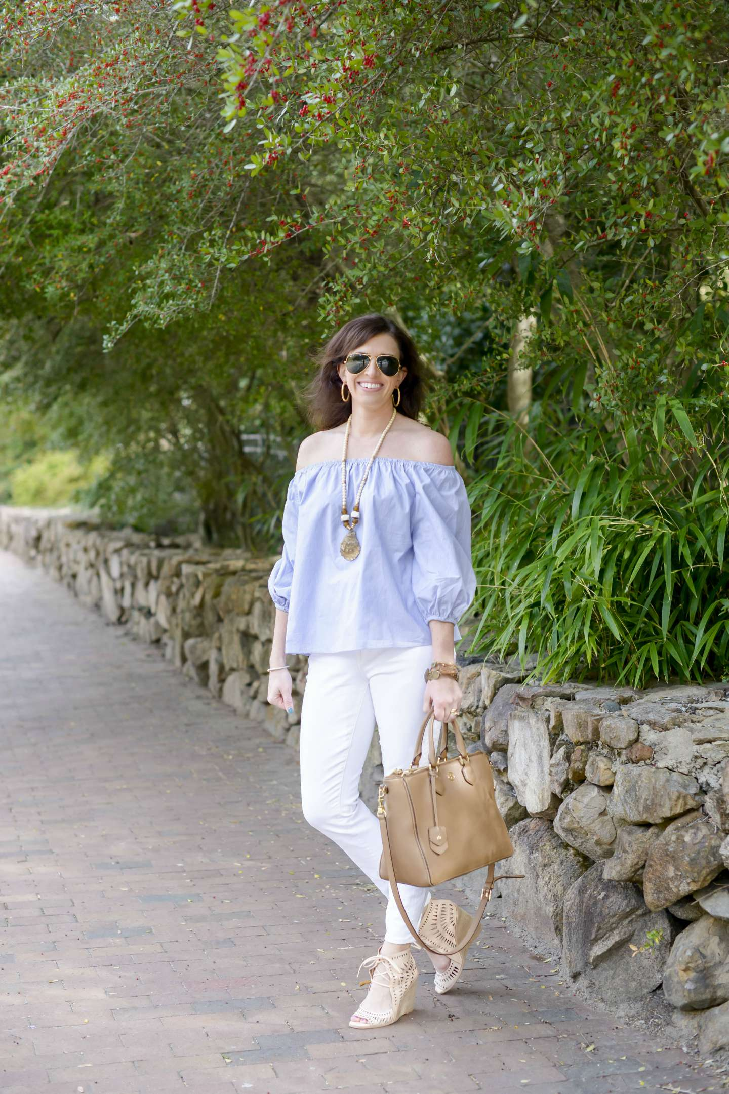 Blue & White Off the Shoulder for Spring in Chapel Hill - I'm Fixin' To - @mbg0112