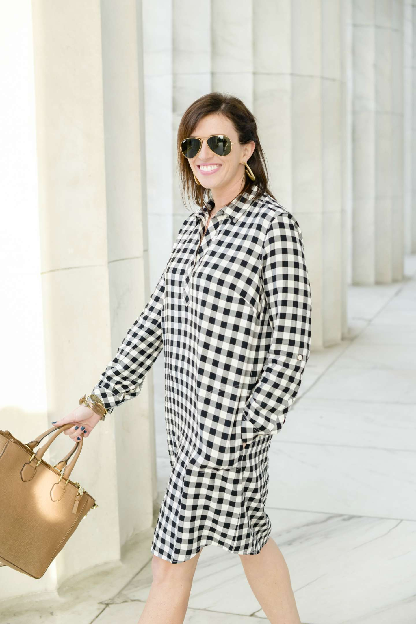 Gingham Shirt Dress + The Best Wedges for Spring - I'm Fixin' To - @mbg0112