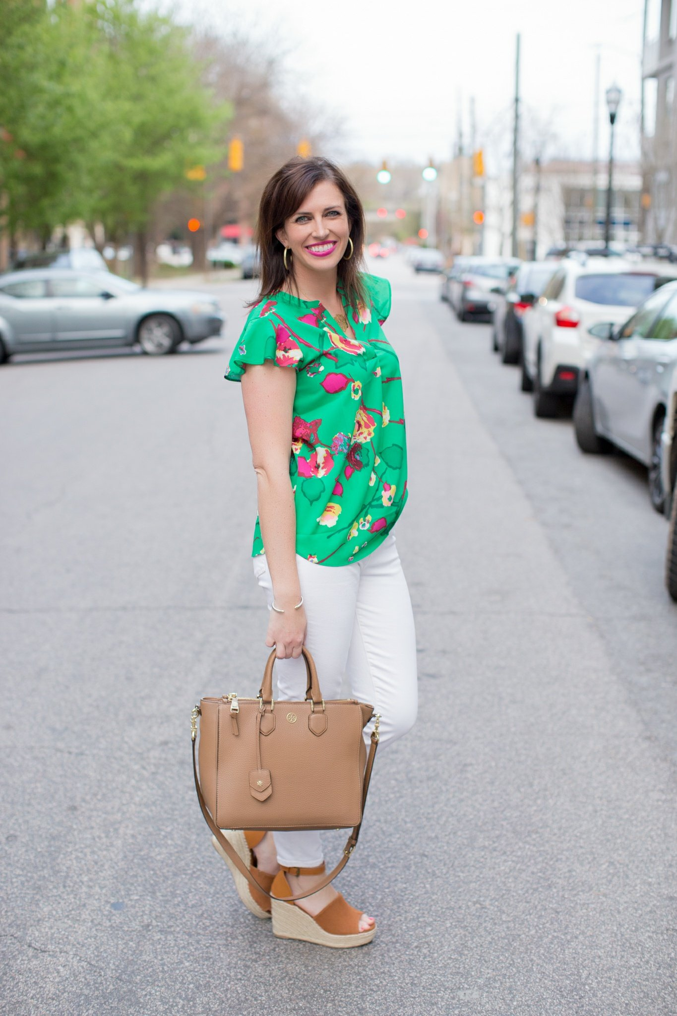 Green Floral Top + White Jeans for Spring - @mbg0112 - I'm Fixin' To