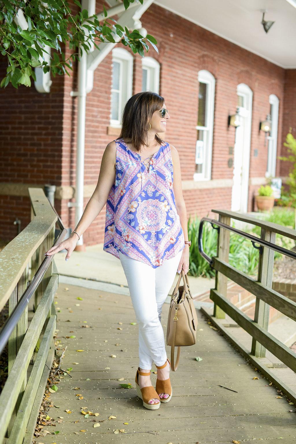 J. Jill Scarf Print Top + White Jeans - @mbg0112 - I'm Fixin' To