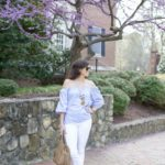 Blue & White Off the Shoulder for Spring in Chapel Hill