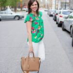 Green J.Crew Factory Floral Top + White Jeans for Spring